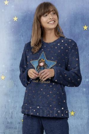 """Pijama Gorjuss franela azul """"estrellas"""" de Santoro"""