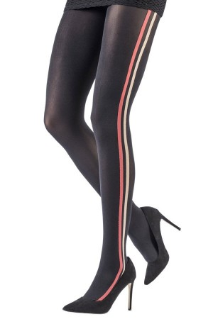 Pantys Striped Band Tights linea vertical moda emilio cavallini 5D32.1.43