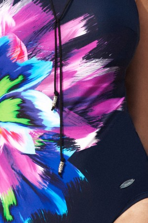 Bañador de señora azul marino estampado floral Susa