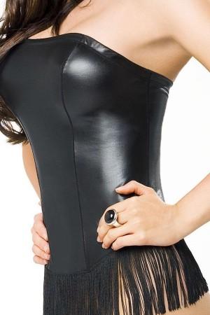 Corse negro cuero con flecos Zingara de Alter