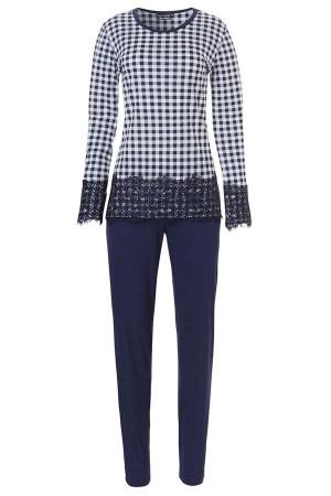 Pijama cuadros azul y blanco con encaje de Pastunette
