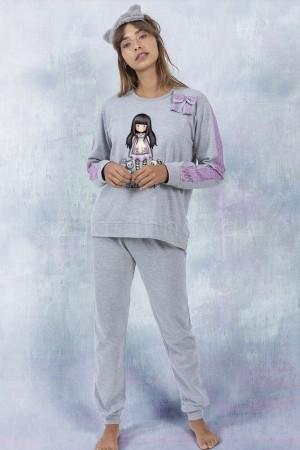 """Pijama gris blonda violeta Gorjuss """"gatos"""" Santoro"""