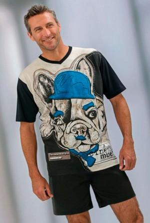 Pijama verano hombre estampado perrito bulldog