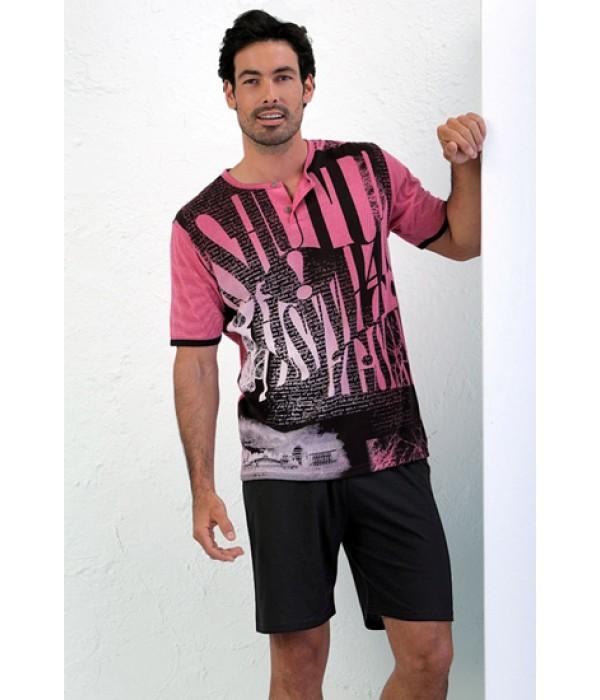 Pijama de verano para hombre color fucsia de Massana P161310