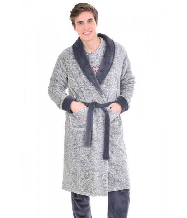 Bata polar larga color gris de invierno Privata