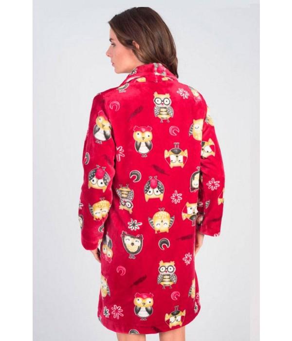 Bata roja con buhos tejido polar de Massana