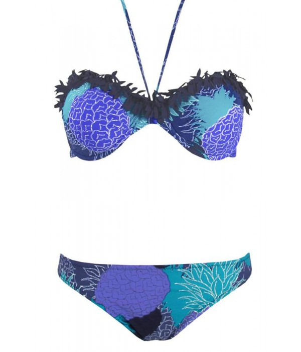 Bikini bandeau piñas azules copa C Piña de Red Point
