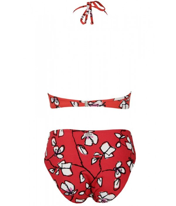 Bikini bandeau rojo flores copa B Egina de Onades