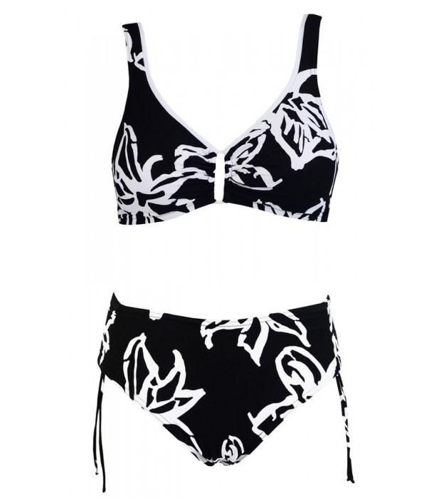 Bikini de Red Point negro con flores