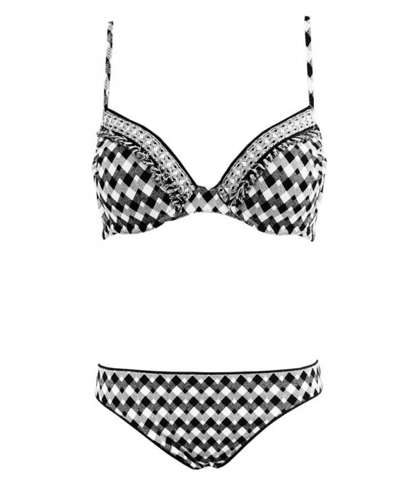 Bikini de red point blanco y negro flecos