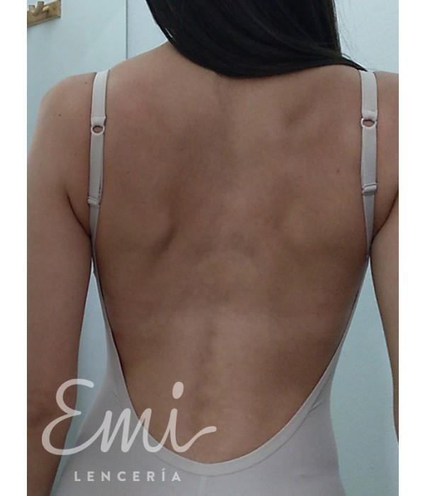 Espalda descubierta body color piel