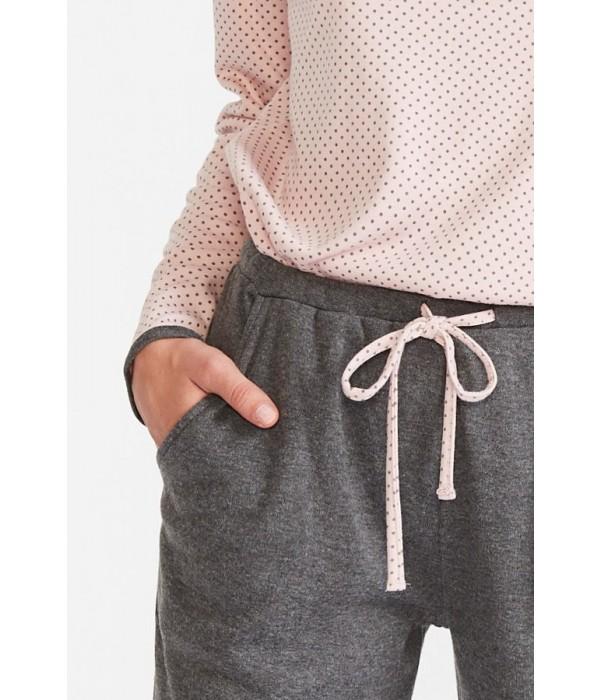 """Set bata + pijama invierno """"topos"""" rosa y gris de Promise"""