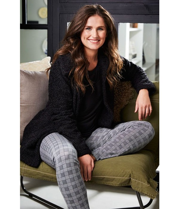 Pijama mujer negro y blanco de cuadros Pastunette