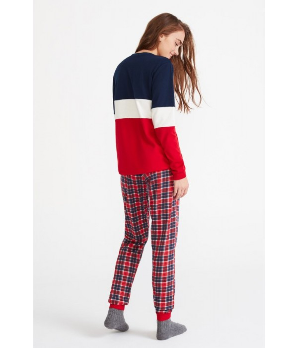 Pijama invierno de cuadros rojo y azul de Promise