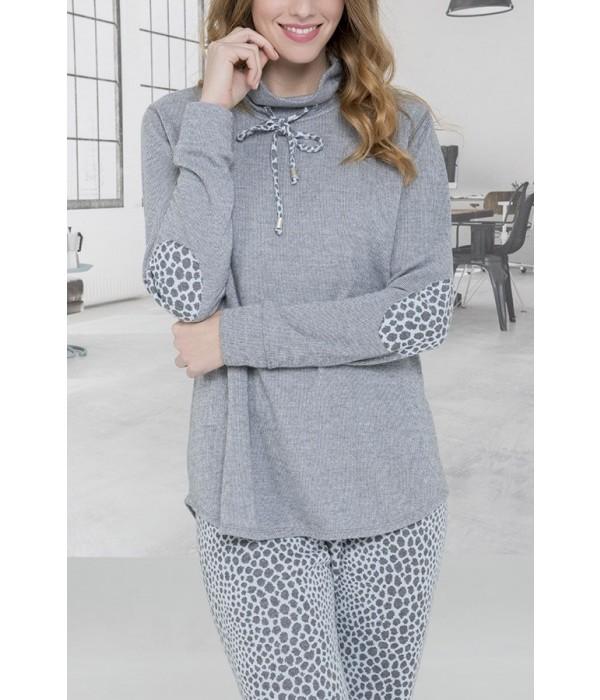 Pijama de señora gris animal print de Mitjans