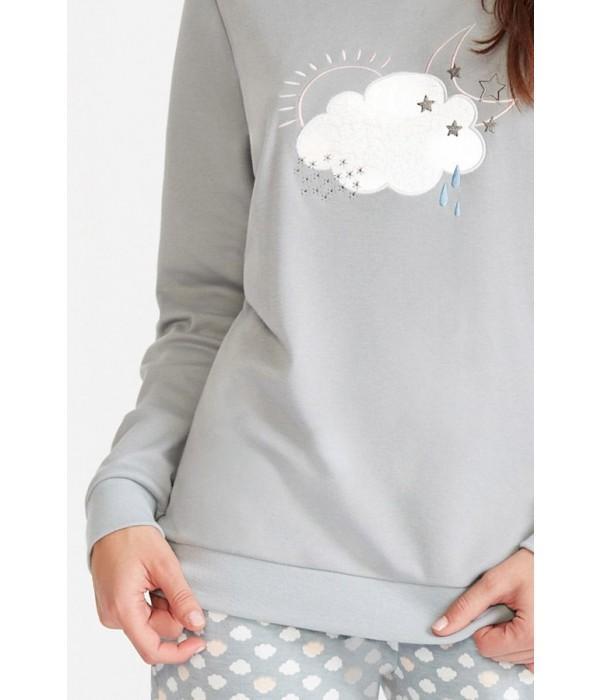 "Pijama largo invierno dibujo ""nubes"" de Promise"