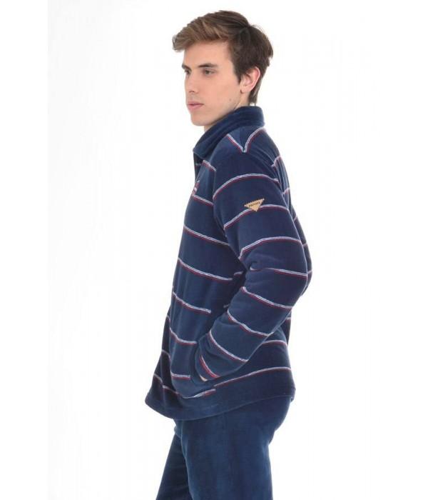 Bata corta hombre azul marina con rayas de Privata