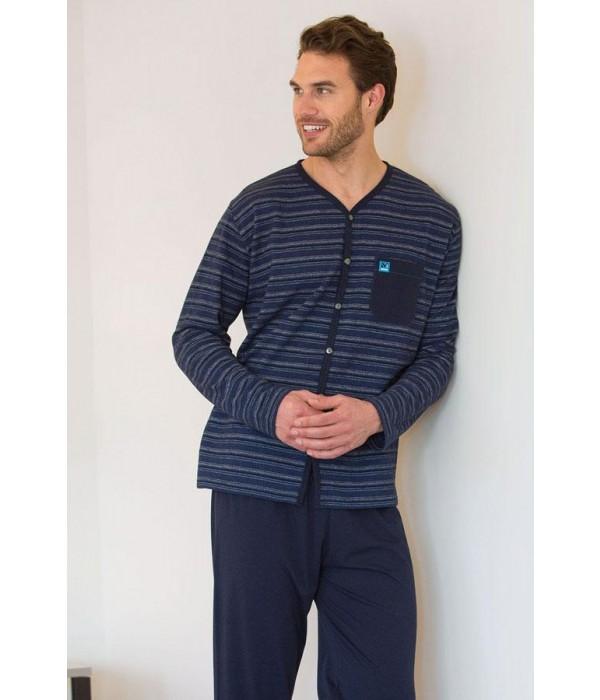 Pijama camiseta con botones azul 691322 de Massana