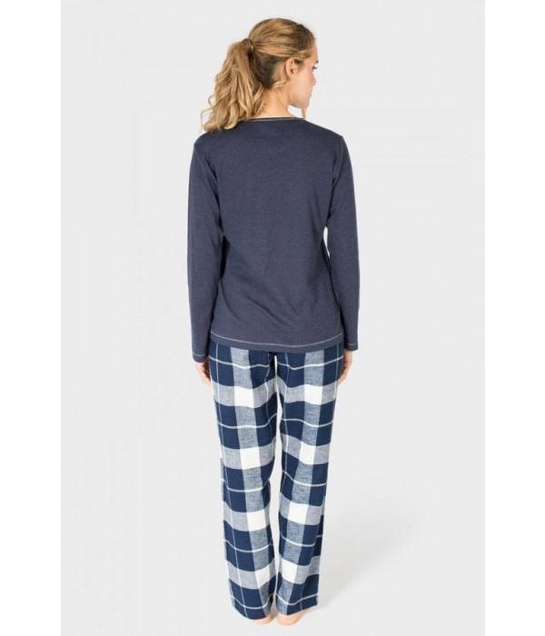 Pijama azul marino cuadros de Massana invierno
