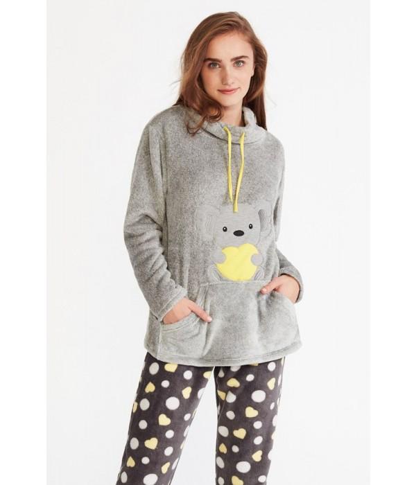 "Pijama polar de mujer ""Koala"" en gris de Promise"