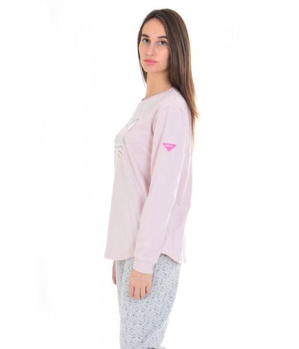"""Pijama mujer largo """"gatito"""" rosa de Privata"""