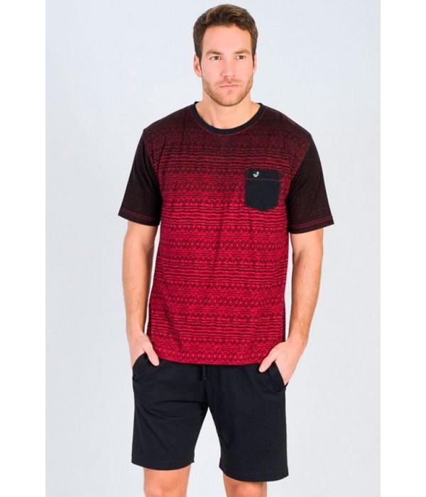 Pijama verano hombre Massana rojo negro manga corta P171301